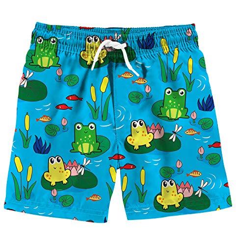 Funnycokid Childrens Swim Trunk Summer Quick Dry Elastic Frog Boardshorts Boys Beachwear Short