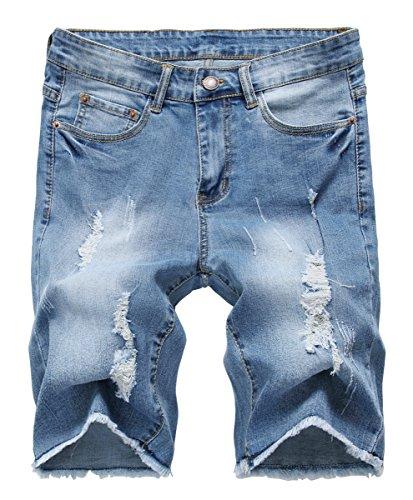 NITAGUT Men's Fashion Ripped Short Jeans Slim Fit Denim Short Light Blue-US (Cotton Denim Jeans Shorts)
