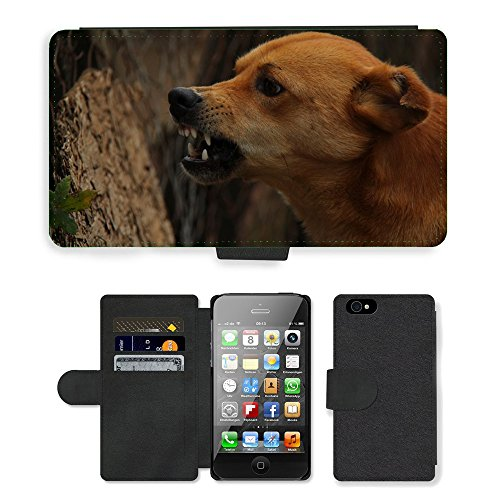 Just Phone Cases PU Leather Flip Custodia Protettiva Case Cover per // M00128321 Chien Rage Angry Violent Furious // Apple iPhone 4 4S 4G