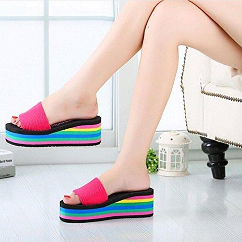 Wedge Dress Rainbow Sandals Hot Slippers Women Slippers Waterproof Kingfansion Platform Pink Shoes Summer Beach Shoes wfR0Rq