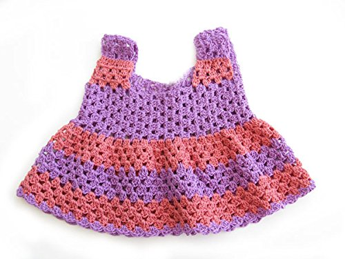 KSS Handmade Purple//Tangerine Crocheted Cotton Dress and Cap 12 Months