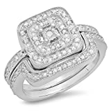 0.30 Carat (ctw) Sterling Silver Round Diamond Ladies Bridal Halo Engagement Ring Set 1/3 CT (Size 8)