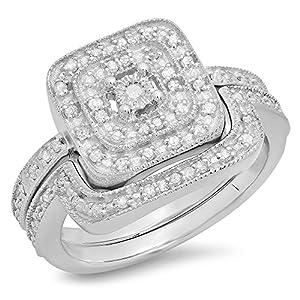 0.30 Carat (ctw) Sterling Silver Round White Diamond Ladies Bridal Halo Style Engagement Ring Set 1/3 CT
