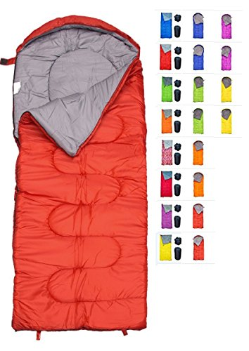 REVALCAMP Sleeping Bag for Cold Weather - 4 Season Envelope Shape Bags by Great for Kids, Teens & Adults. Warm and Lightweight - Perfect for Hiking, Backpacking & Camping (Red - Envelope Right Zip)