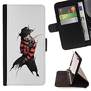 DEVIL CASE - FOR HTC One M8 - Krueger Elm Street - Style PU Leather Case Wallet Flip Stand Flap Closure Cover