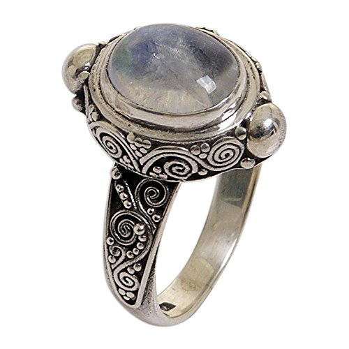 NOVICA Oval Rainbow Moonstone .925 Sterling Silver Cocktail Ring, Magic Portal' ()