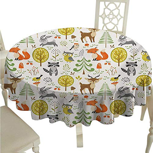 Animals Flow Spillproof Fabric Tablecloth Woodland Forest Animals Trees Birds Owls Fox Bunny Deer Raccoon Mushroom Print Washable Polyester - Great for Buffet Table, Parties, Holiday Dinner, Weddin