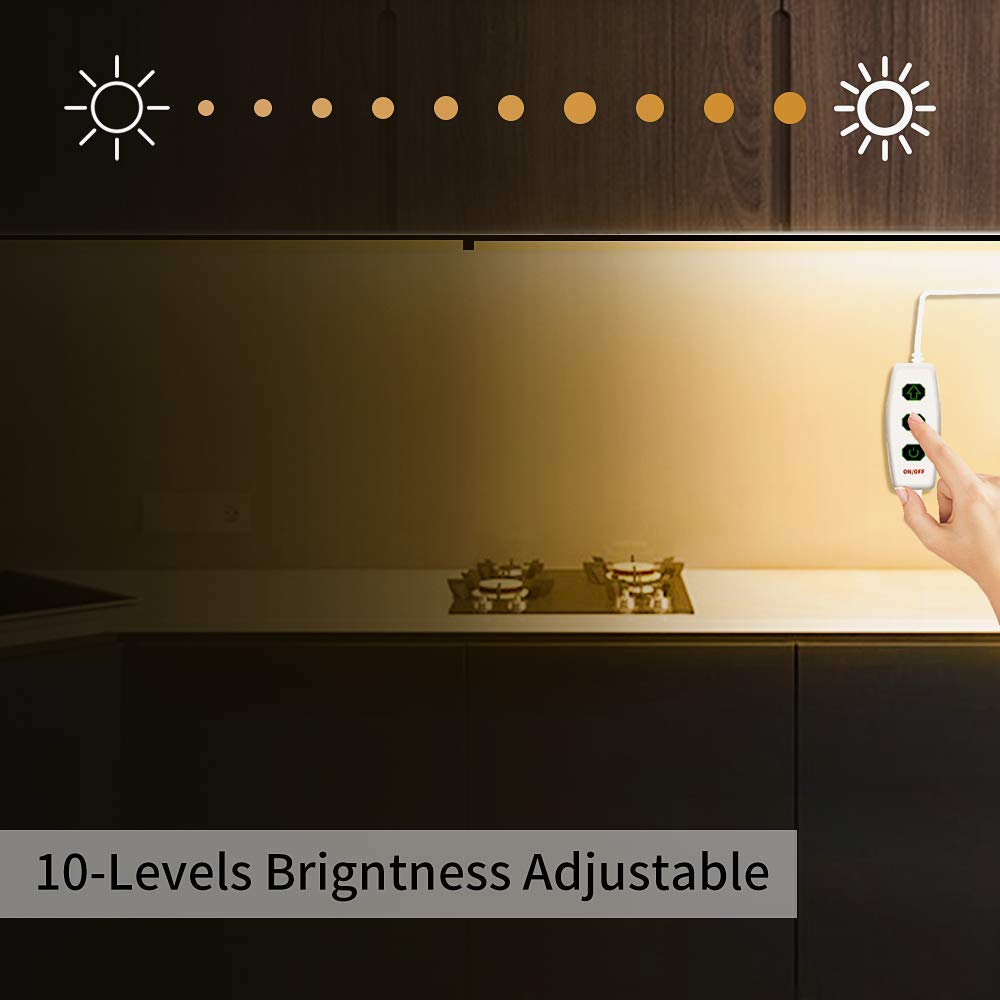 MYPLUS LED Under Cabinet Lighting, 3 pcs 12 inches Extremely Soft Kitchen Lights 10W, 630lm With 10 Levels Dimmable LED Under Counter Lights, for Kitchen Cabinet,Counter,Workbench etc - 3000K by MYPLUS (Image #3)