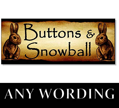 Adonis554Dan Single or Double Personalized Rabbit Name Sign Plaque Hutch Run cage Door Gift Outdoor Love Bunny Garden Acrylic -