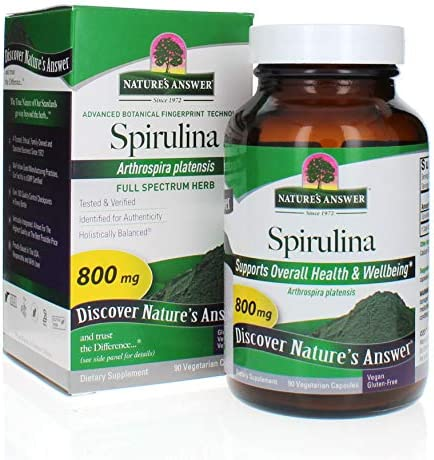 Nature's Answer Spirulina 90 Vegetarian Capsules Vegan 100 Natural Protein Calcium Vitamins Nutrient Rich Highest Quality