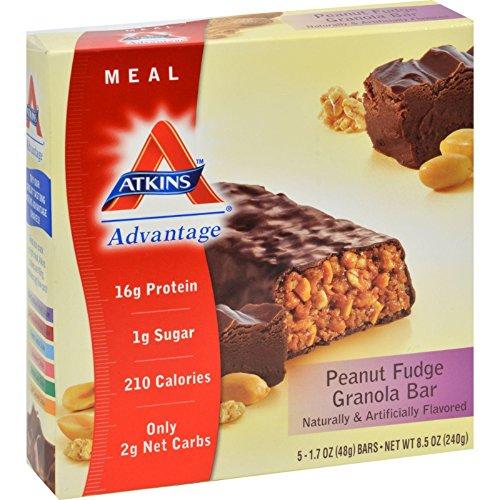 Atkins Advantage Peanut (Atkins Advantage Peanut Fudge Granola Meal Bar, 5 Count Bars, 8.5 oz (3-pack))