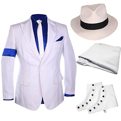 Classic MJ Michael Jackson Smooth Criminal Stripe Suit Blazer Spat Hat Full (Michael Jackson Costumes Smooth Criminal)