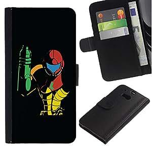LASTONE PHONE CASE / Lujo Billetera de Cuero Caso del tirón Titular de la tarjeta Flip Carcasa Funda para HTC One M8 / Metroid