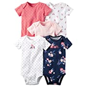 Carter's Baby Girls 5-Pack Short-Sleeve Original Bodysuits (Pink Owls) (12 Months)
