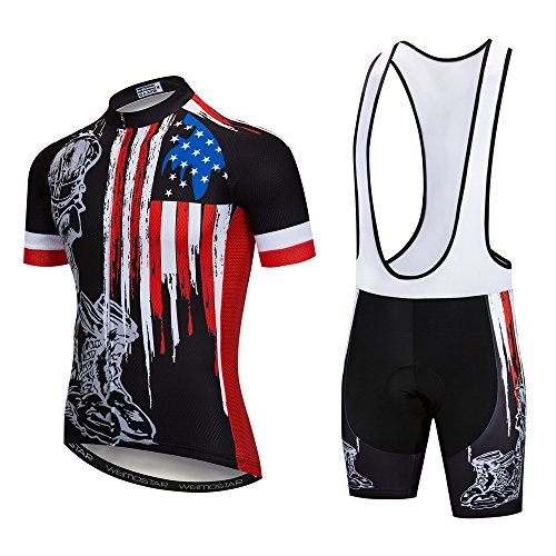 (Cycling Jersey and Bib Shorts Set Men Breathable Bike Shirt Summer Outdoor Youth Bicycle Clothing XXL)