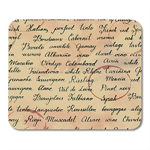 Semtomn Gaming Mouse Pad Red Old Names of Wine Grapes and Related Terms 9.5