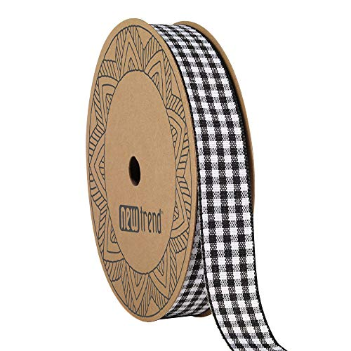 NewTrend Gingham Ribbon 25 Yard Each Roll 100% Polyester Woven Edge (5/8-Inch, Black)