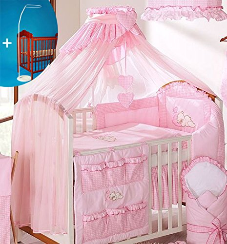 Luxury Baby Cot Bed Canopy/Mosquito Net 480cm + Floor Stand Holder - BIG CHECK PINK BabyComfort
