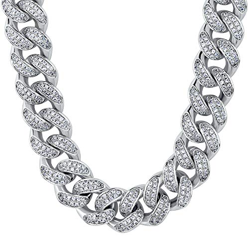 KRKC&CO 12mm Mens Iced Out Cuban Link Hip Hop White Gold Plated Miami Cuban Link Chain Choker Necklace 18-24 inches (White Gold, 24) ()