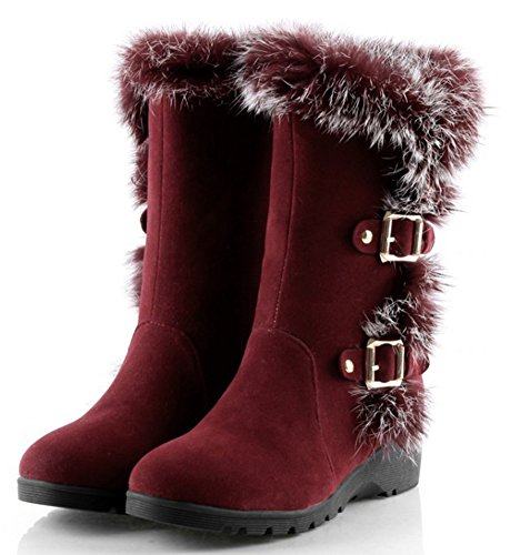 Idifu Womens Sweet Buckled Volledig Bont Mid Sleehak Faux Gevoerde Half Kalf Snow Booties Rood