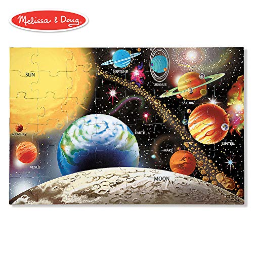 "Melissa & Doug Solar System Floor Puzzle (Floor Puzzles, Easy-Clean Surface, Promotes Hand-Eye Coordination, 48 Pieces, 36"" L x 24"" ()"