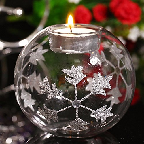 Clear Glass Embossed Silver & Jewel Snowflake Tea Light Candle Holder