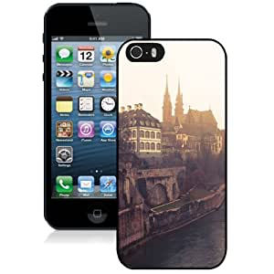 Fashionable And Unique Designed Cover Case For iPhone 5 5S With Dreamy Sunset River Old Town_Black Phone Case