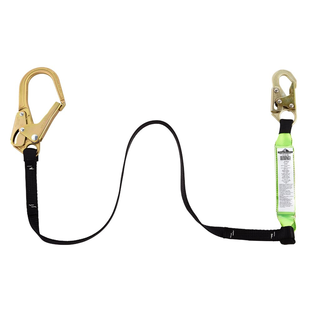 Peakworks V8104320-6' Shock Absorbing Lanyard with Snap and Rebar Hooks, Black/Green