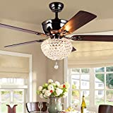 Huston Fan Crystal Ceiling Fan Light with 5 Wood Reversiable Blade and 3