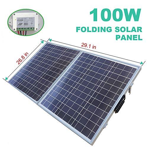 (ECO-WORTHY 100 W Watt Portable Kits -100W 2x50W Folding PV Solar Panel 12V RV Boat Off Grid W 15A Charge)