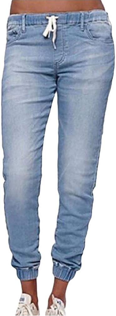 Yying Mujer Pantalones Mezclilla Elasticos Skinny Jeans Vaqueros Cintura Alta Cordon Jeans Slim Fit Pantalones Lapiz Suelto Linterna Jeans Con Lado Bolsillos Vaqueros Ropa