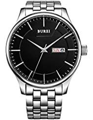 BUREI Mens Stainless Steel Big Face Watch With Black Dial Day and Date Display