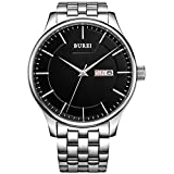 BUREI Men's Stainless Steel Big Face Watch With Black Dial Day and Date Display