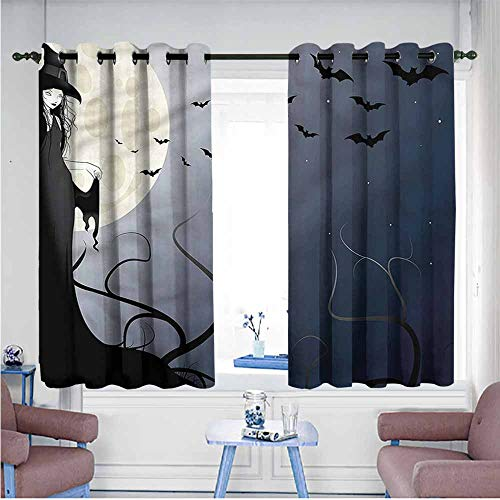 SAMEK Grommet Window Curtains,Halloween Witch in Twilight on High,Great for Living Rooms & Bedrooms,W72x72L ()