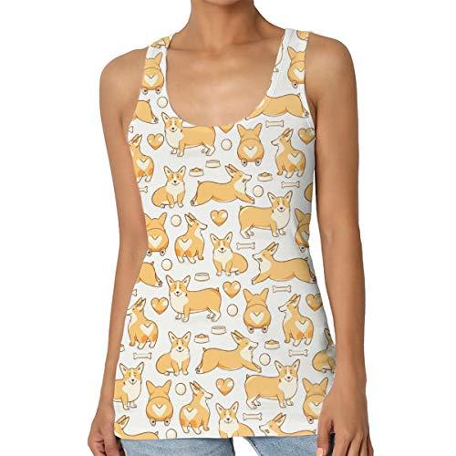 Funny Corgi Women Sleeveless Tank Top Summer Vest Shirts Black ()