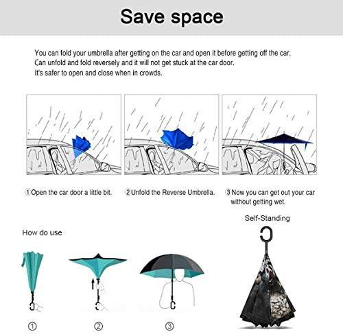 奇妙なデスクトップ 逆さ傘 逆折り式傘 車用傘 耐風 撥水 遮光遮熱 大きい 手離れC型手元 梅雨 紫外線対策 晴雨兼用 ビジネス用 車用 UVカット