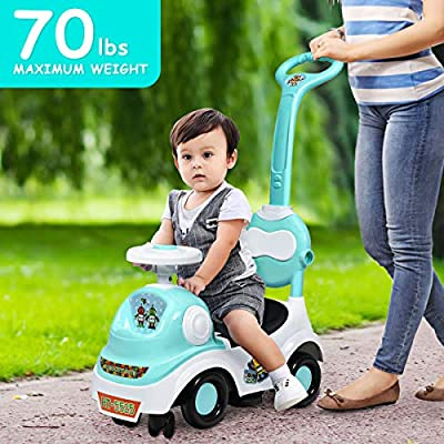 Costzon 3-in-1 Ride On Car, ASTM Certified Child Buggy with Anti-Recline, Toddler Car w/Music Box & Horn, Removable Food Tray, Push Buggy w/Removable Pull Rod & Retractable Foot Pedal (Green): Toys & Games