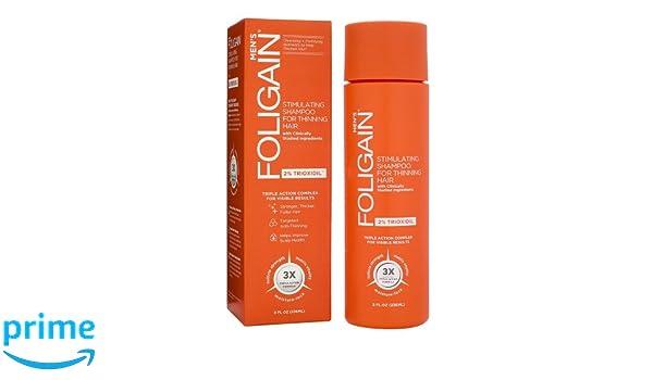Foligain - Champú de crecimiento del pelo para hombre | Trioxidil 2% | Combate la caída del pelo y fortalece el cuero cabelludo | Sin parabenos ni sulfatos ...