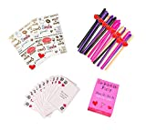 Bachelorette Party Decorations - Straws (Pack of 20), Tattoos (2 Sheets), Funny Dare Cards for Girls Night Out Party Games