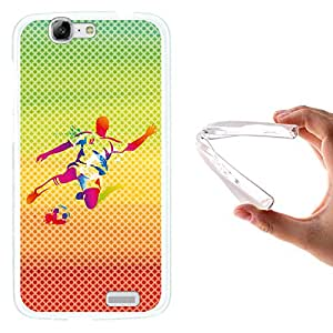 WoowCase - Funda Gel Flexible { Huawei Ascend G7 } Jugador de Fútbol con Balón Deporte Multicolor Carcasa Case Silicona TPU Suave