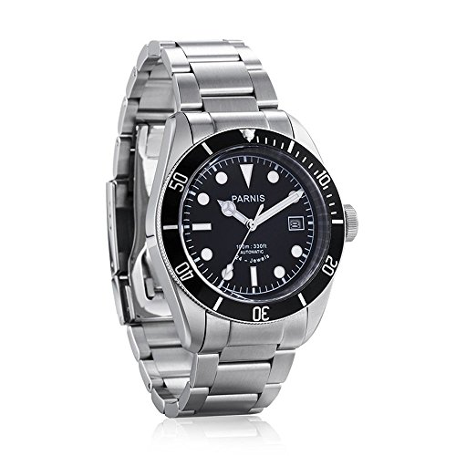 Whatswatch 41mm Parnis Black Rotating Bezel Automatic