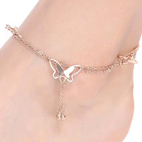 Asatr Women Fashion Barefoot Sandal Beach Butterfly Shape Charm Anklet Bracelets Chain Anklets Bangle