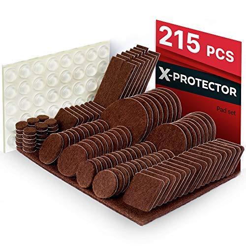 Furniture Pads 215 pcs X-PROTECTOR Best Felt Furniture Pads - Furniture Floor Protectors Felt Pad –Premium Furniture Felt Pads - Chair Leg Floor Protectors Felts Furniture Feet +64 Rubber Bumpers Pa