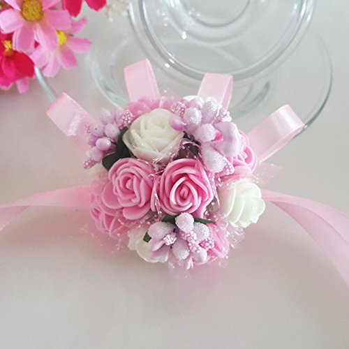 Adarl 5pcs/Set Wedding Bridal Bridesmaid Wrist Corsage Boutonniere Hand Flower Bracelet for Graduation Gift, Wedding, Party, Dance & Prom A2 by Adarl
