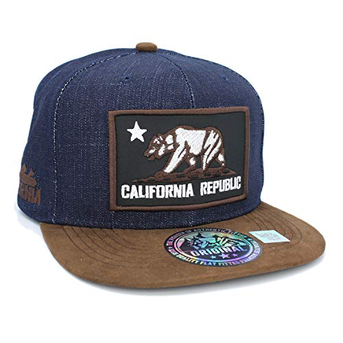 (Embroidered California Republic with Bear Claw Scratch Snapback Cap (Dark Denim/Suede))