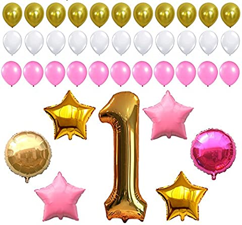 FIRST BIRTHDAY DECORATION - Pink White Gold Balloons Kit, Perfect for 1st Bday Party Supplies, Girl or Boy, Number One 1, Latex Stars and Round (White And Gold Supplies)