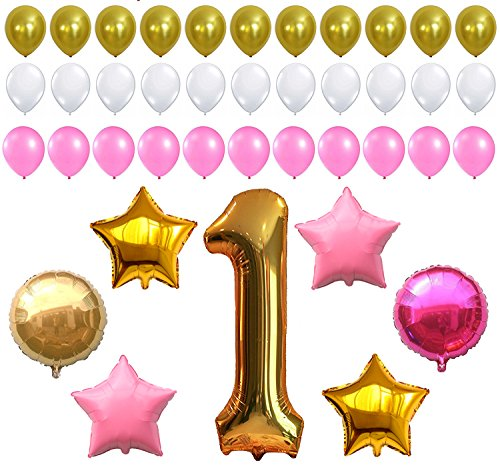 FIRST BIRTHDAY DECORATION - Pink White Gold Balloons Kit, Perfect for 1st Bday Party Supplies, Girl or Boy, Number One 1, Latex Stars and Round Ballon