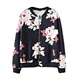 YIWULA Fashion Womens Casual Floral Print Top Coat Outwear Sweatshirt Jacket Overcoat