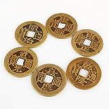 "sanheng fire Copper Coin Ancient Chinese Feng Shui 2.7cm/1.1"" 6-pcs"