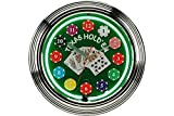 StealStreet SS-CQG-8144 8144 15'' Texas Hold'em Neon Wall Clock with Chips & Cards, Green